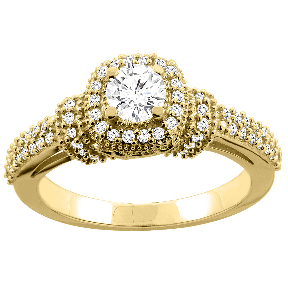 10K Gold 0.76 cttw Diamond Halo Engagement Ring, sizes 5 - 10