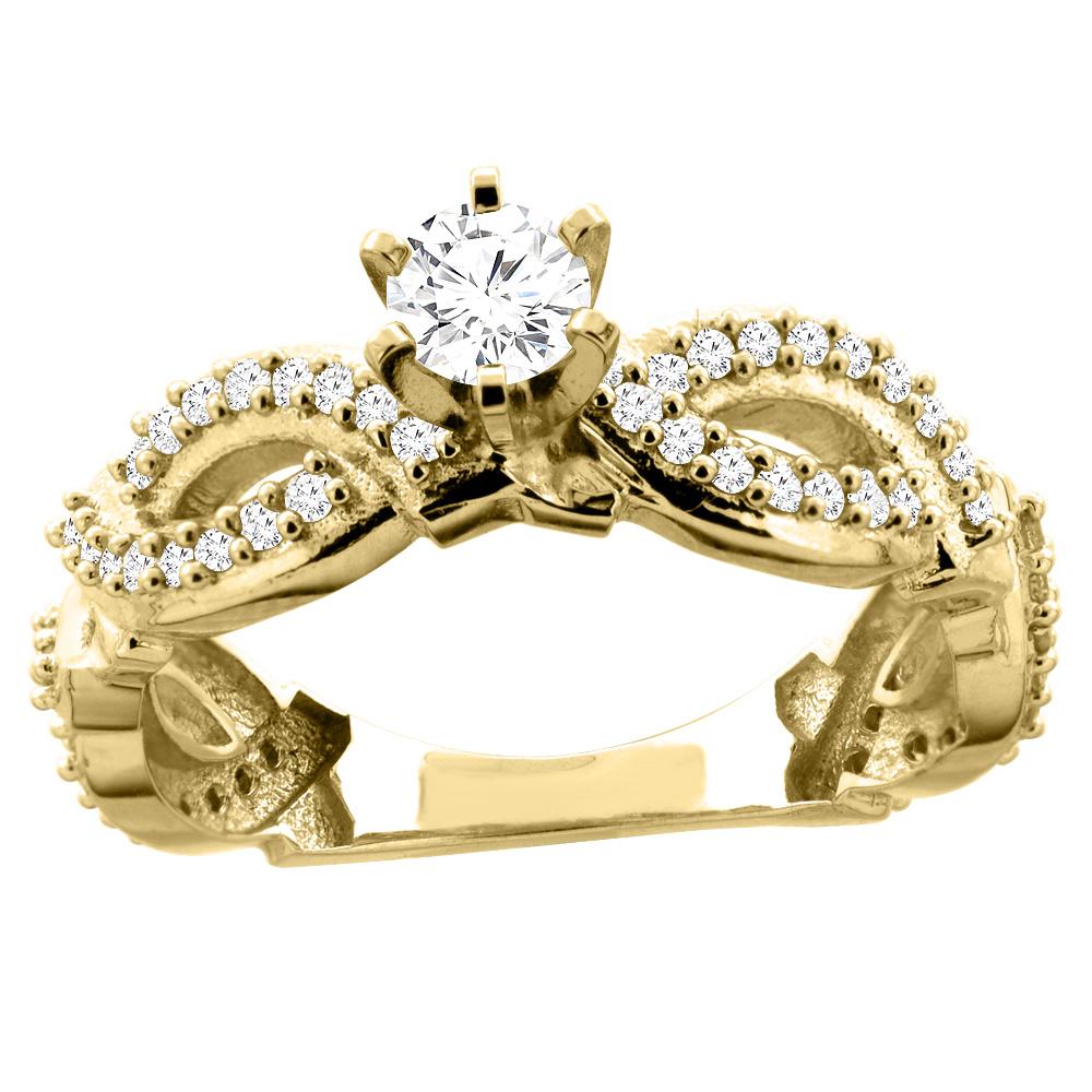 10K Gold 0.75 cttw. Round Diamond Engagement Ring, sizes 5 - 10