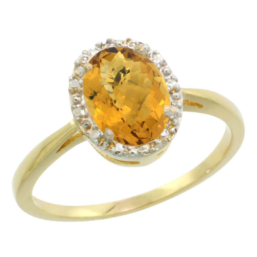 14K Yellow Gold Natural Whisky Quartz Diamond Halo Ring Oval 8X6mm, sizes 5 10