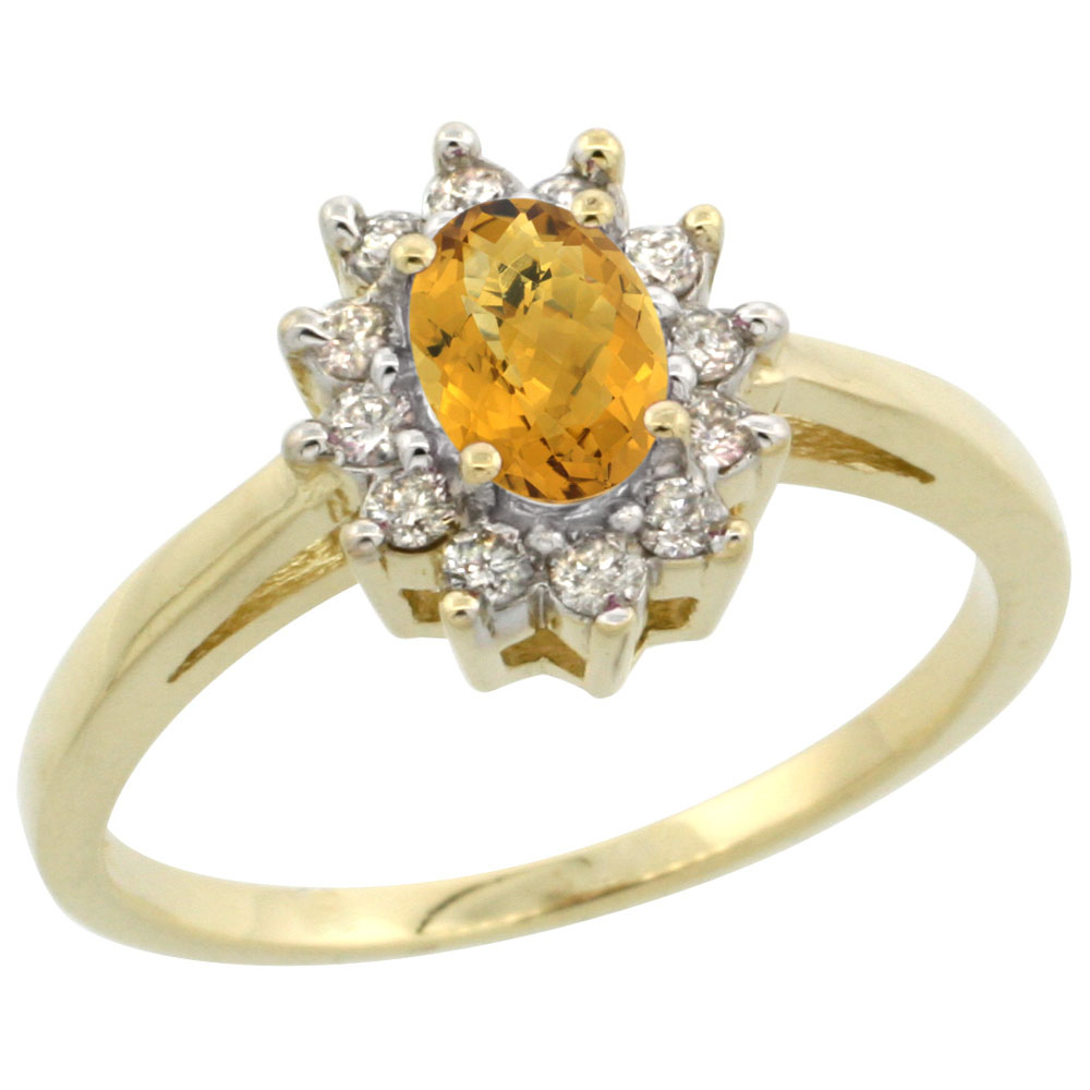 14K Yellow Gold Natural Whisky Quartz Flower Diamond Halo Ring Oval 6x4 mm, sizes 5 10