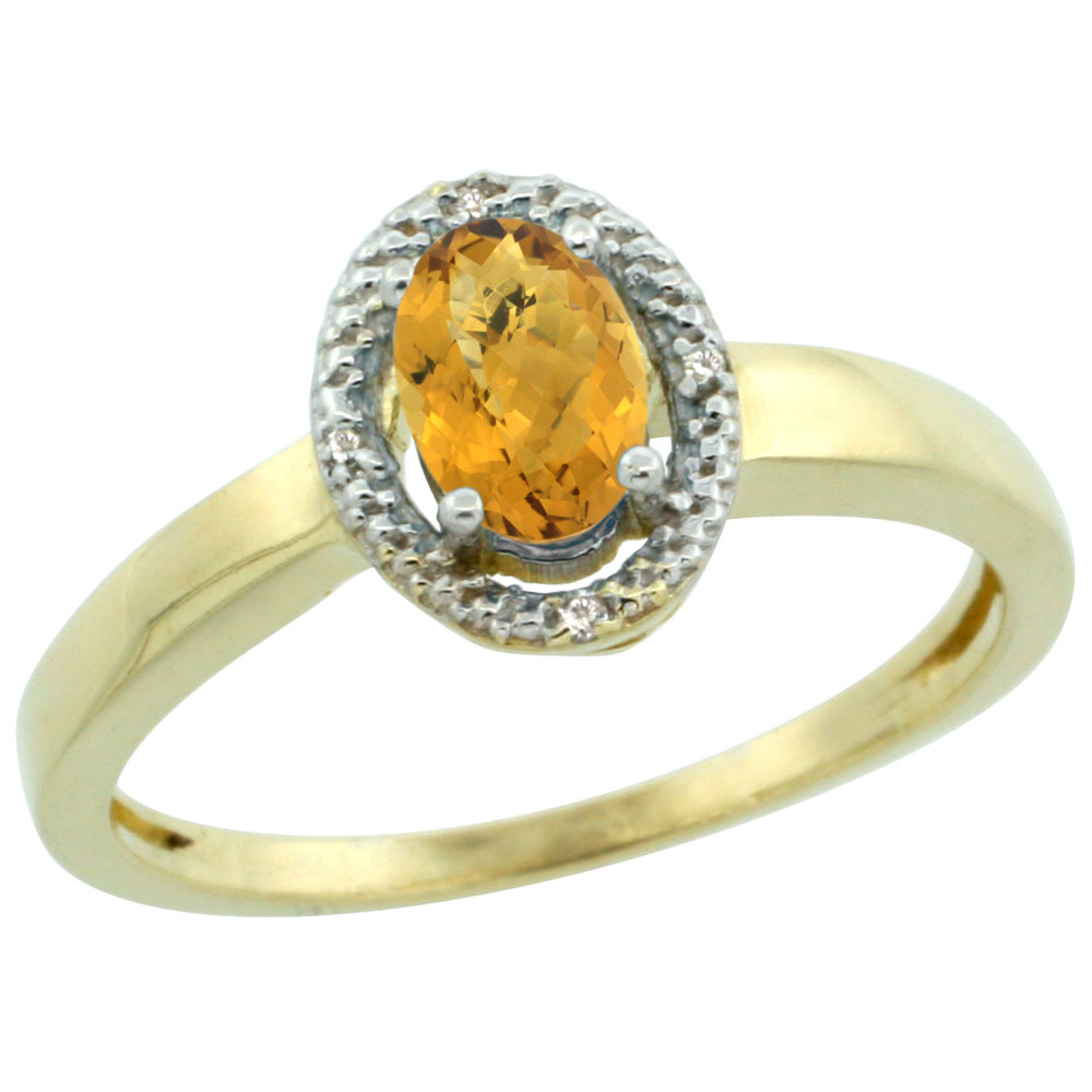 14K Yellow Gold Diamond Halo Natural Whisky Quartz Engagement Ring Oval 6X4 mm, sizes 5-10