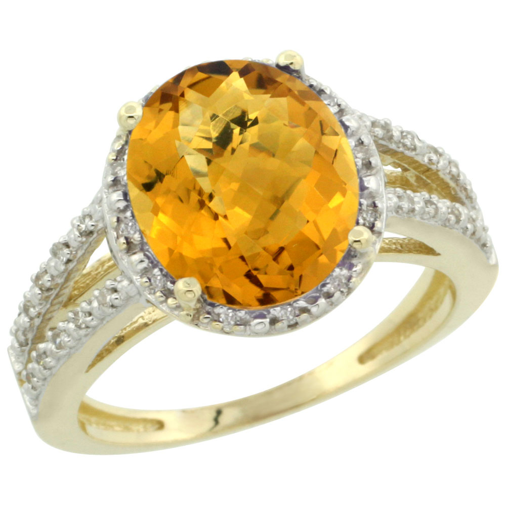 10K Yellow Gold Diamond Natural Whisky Quartz Ring Oval 11x9mm, sizes 5-10