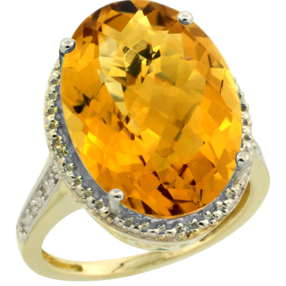 10K Yellow Gold Diamond Natural Whisky Quartz Ring Oval 18x13mm, sizes 5-10
