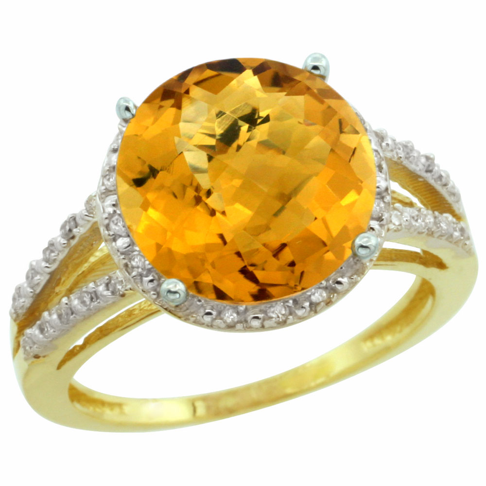 14K Yellow Gold Diamond Natural Whisky Quartz Ring Round 11mm, sizes 5-10