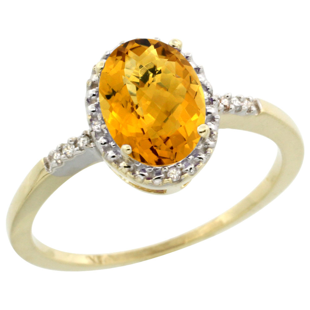 14K Yellow Gold Diamond Natural Whisky Quartz Ring Oval 8x6mm, sizes 5-10