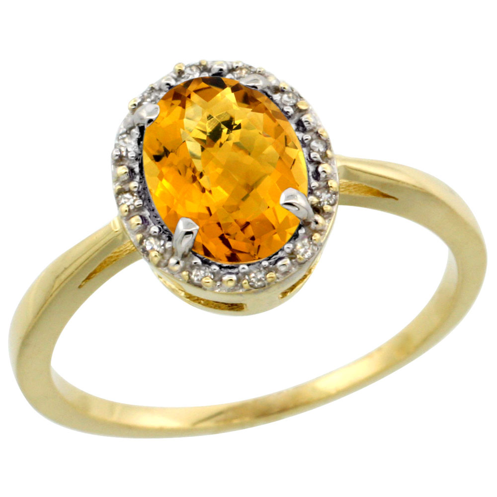 10k Yellow Gold Natural Whisky Topaz Ring Oval 8x6 mm Diamond Halo, sizes 5-10