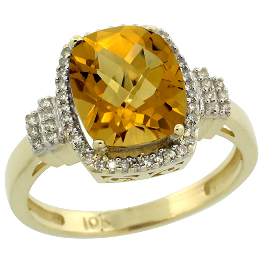 14K Yellow Gold Natural Whisky Quartz Ring Cushion-cut 9x7mm Diamond Halo, sizes 5-10