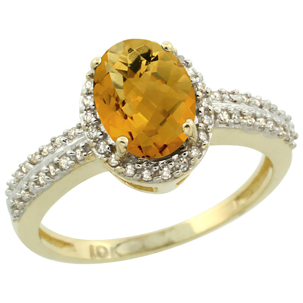 10k Yellow Gold Natural Whisky Quartz Ring Oval 8x6mm Diamond Halo, sizes 5-10
