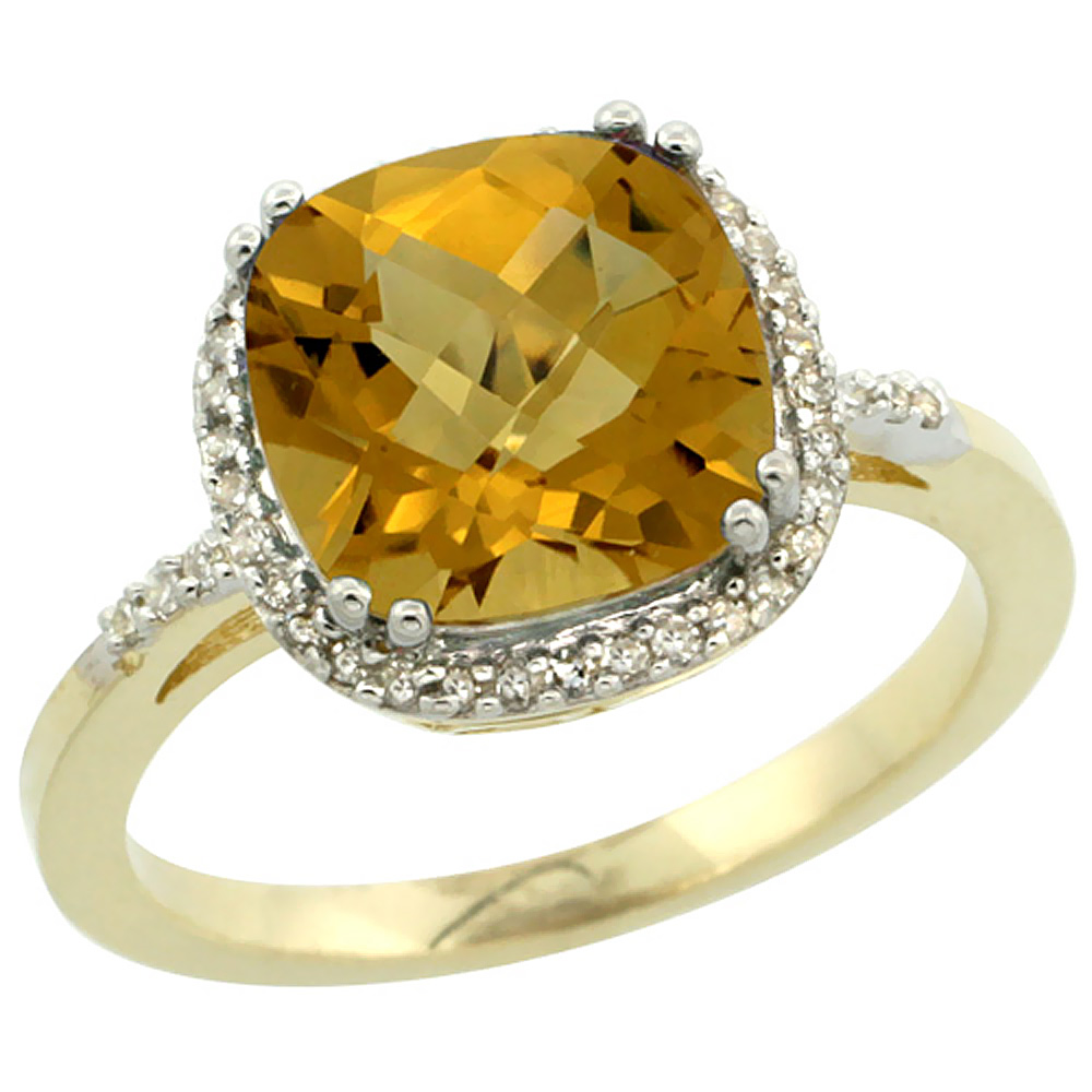 14K Yellow Gold Diamond Natural Whisky Quartz Ring Cushion-cut 9x9mm, sizes 5-10