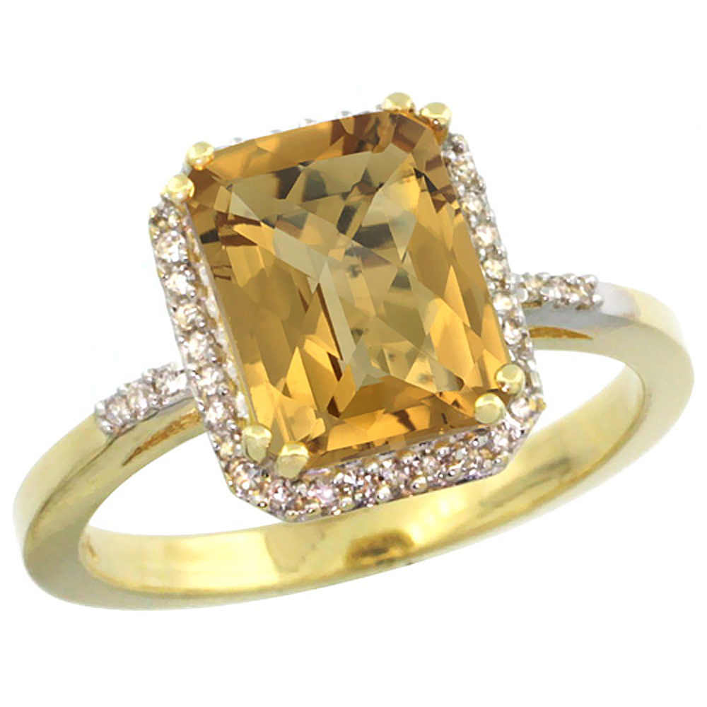 14K Yellow Gold Diamond Natural Whisky Quartz Ring Emerald-cut 9x7mm, sizes 5-10