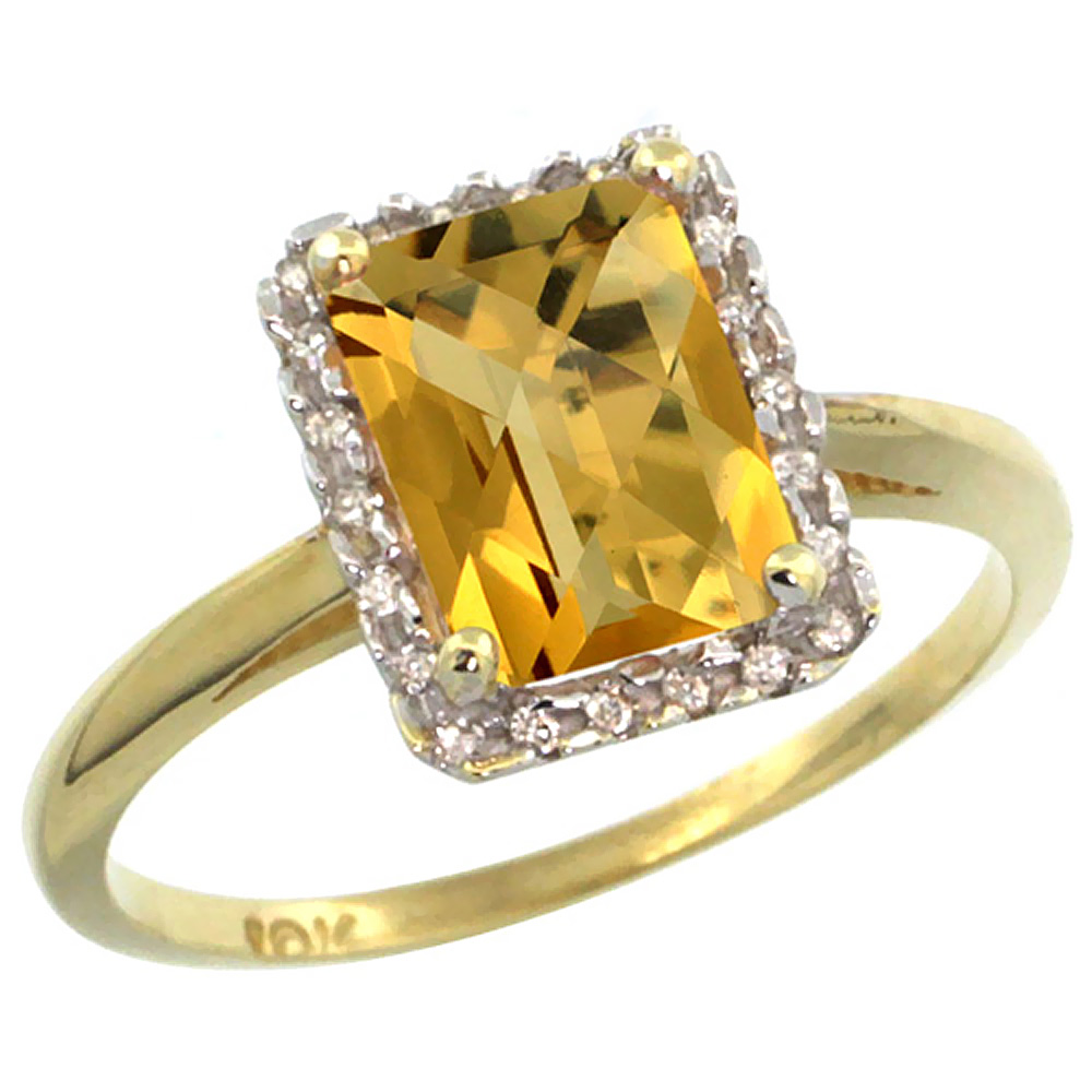 14K Yellow Gold Diamond Natural Whisky Quartz Ring Emerald-cut 8x6mm, sizes 5-10