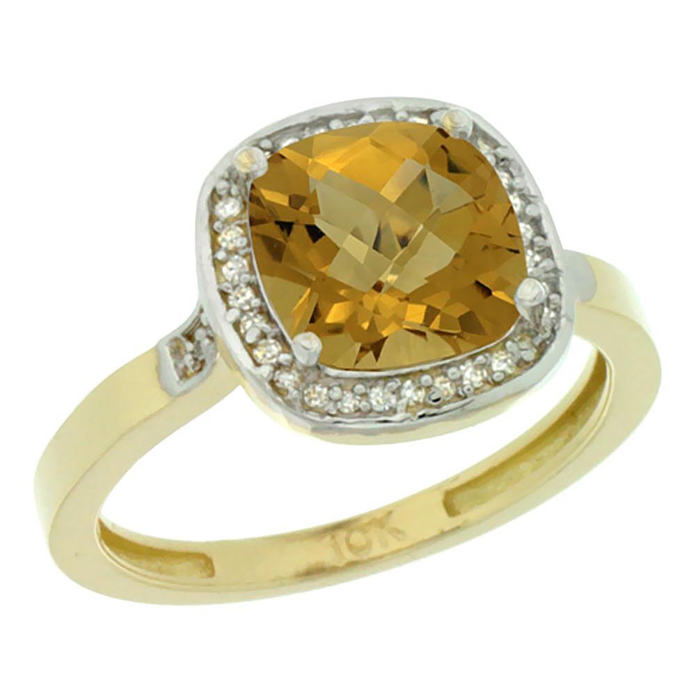 14K Yellow Gold Diamond Natural Whisky Quartz Ring Cushion-cut 8x8mm, sizes 5-10