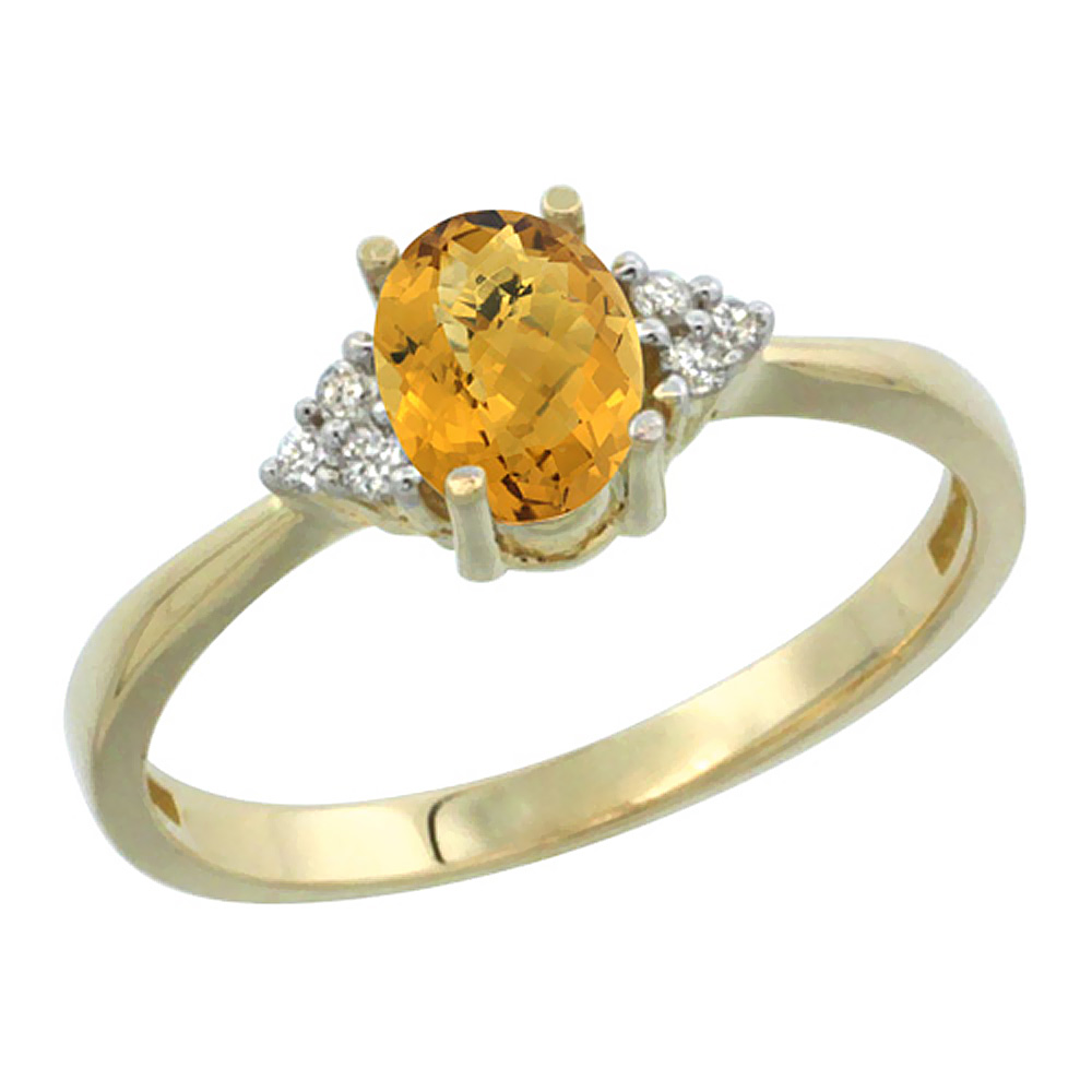 14K Yellow Gold Diamond Natural Whisky Quartz Engagement Ring Oval 7x5mm, sizes 5-10
