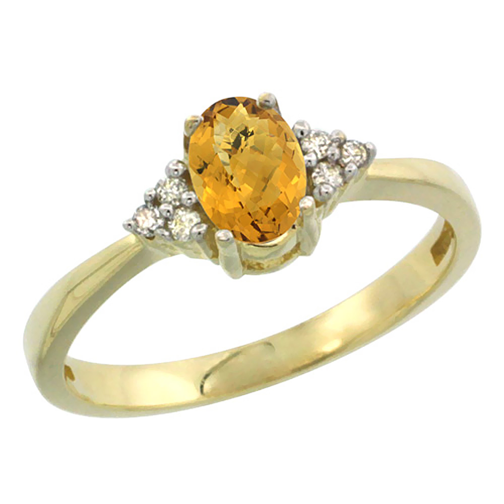 14K Yellow Gold Natural Whisky Quartz Ring Oval 6x4mm Diamond Accent, sizes 5-10