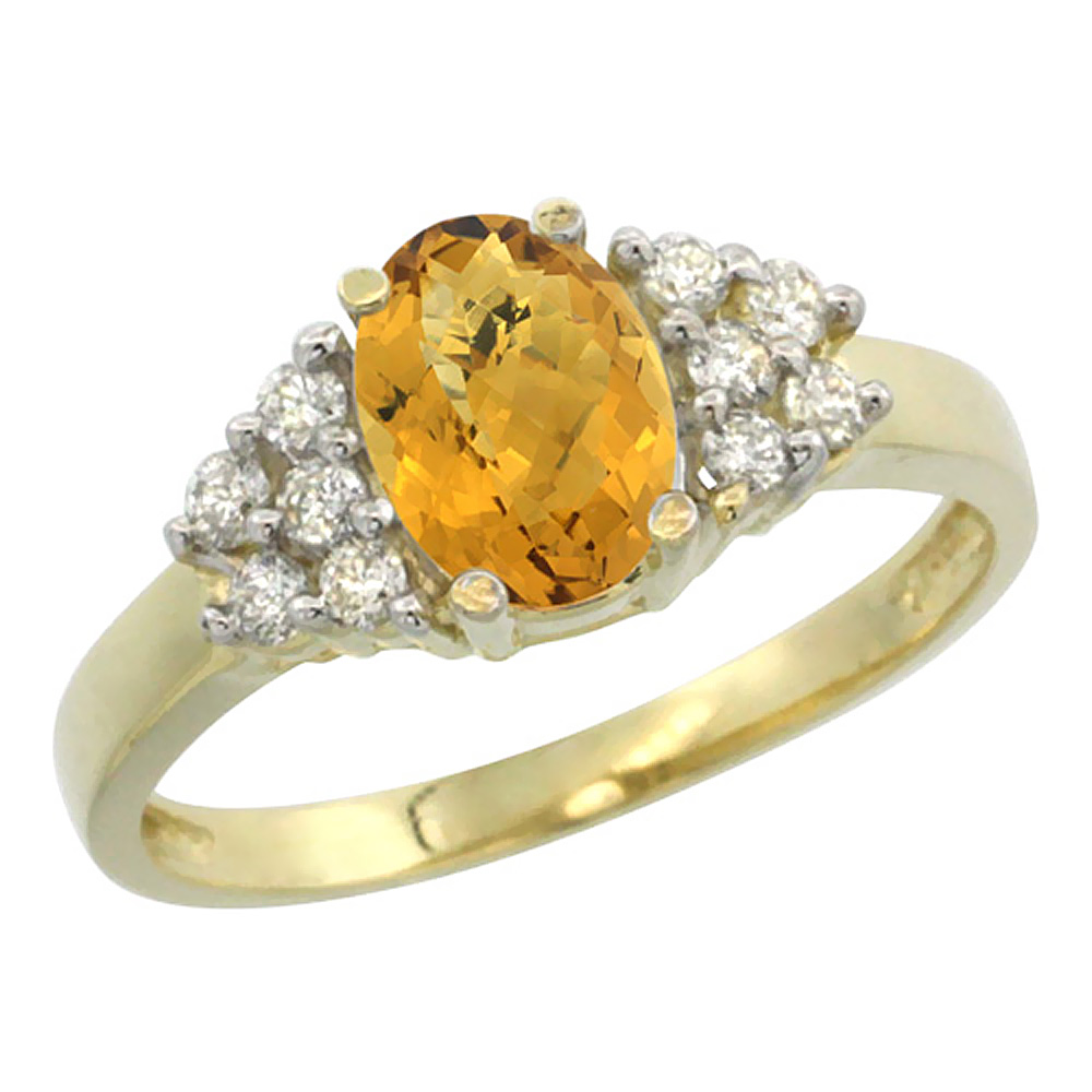 14K Yellow Gold Natural Whisky Quartz Ring Oval 8x6mm Diamond Accent, sizes 5-10