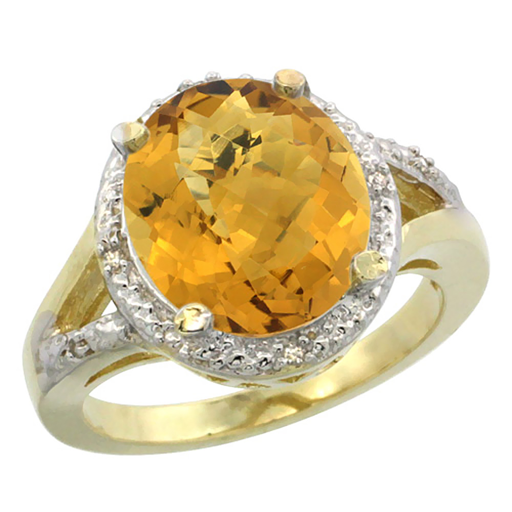 14K Yellow Gold Natural Whisky Quartz Ring Oval 12x10mm Diamond Accent, sizes 5-10