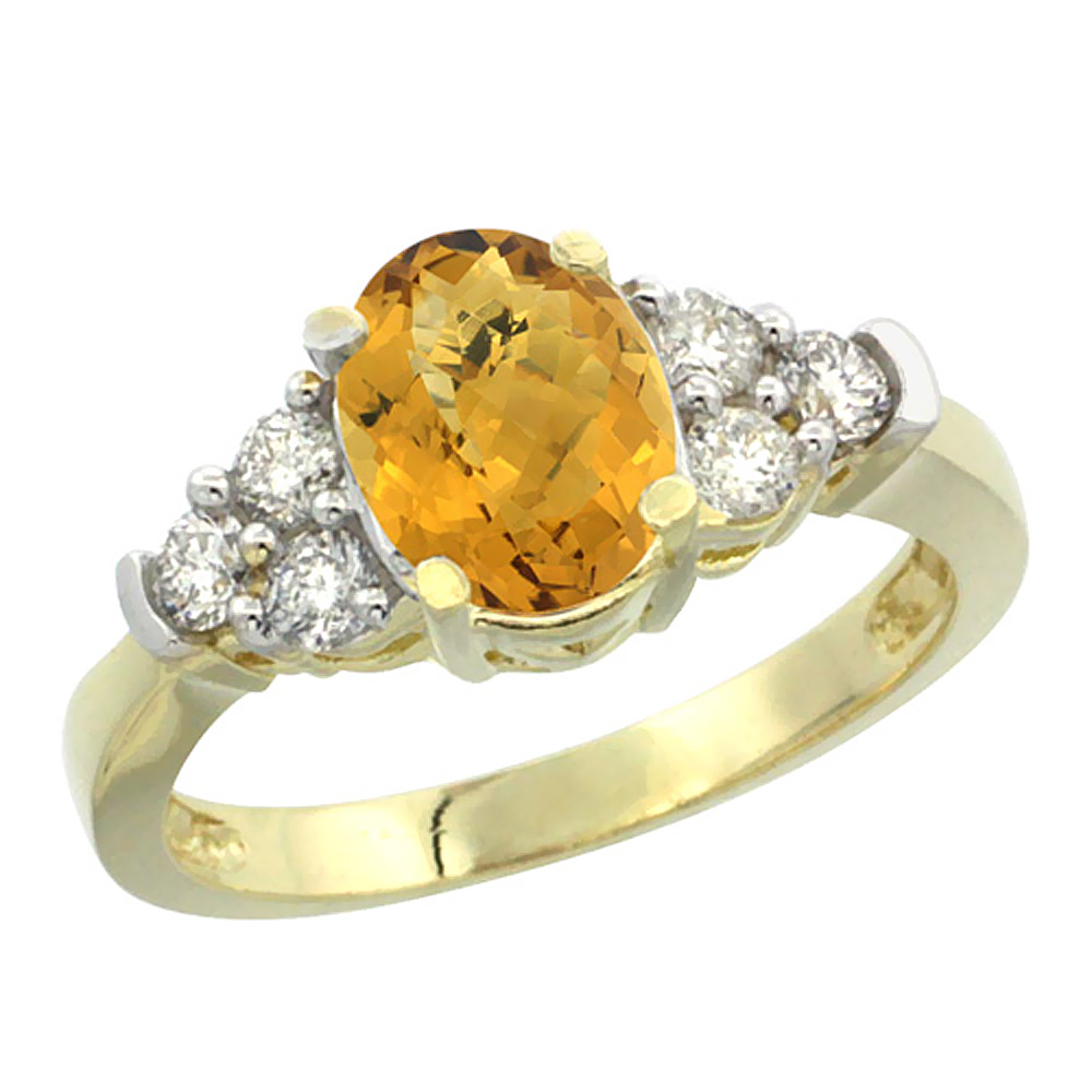 14K Yellow Gold Natural Whisky Quartz Ring Oval 9x7mm Diamond Accent, sizes 5-10