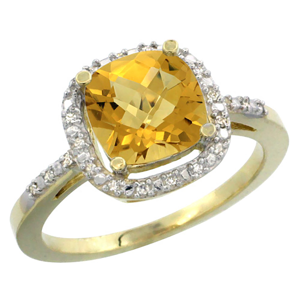 14K Yellow Gold Natural Whisky Quartz Ring Cushion-cut 8x8mm Diamond Accent, sizes 5-10