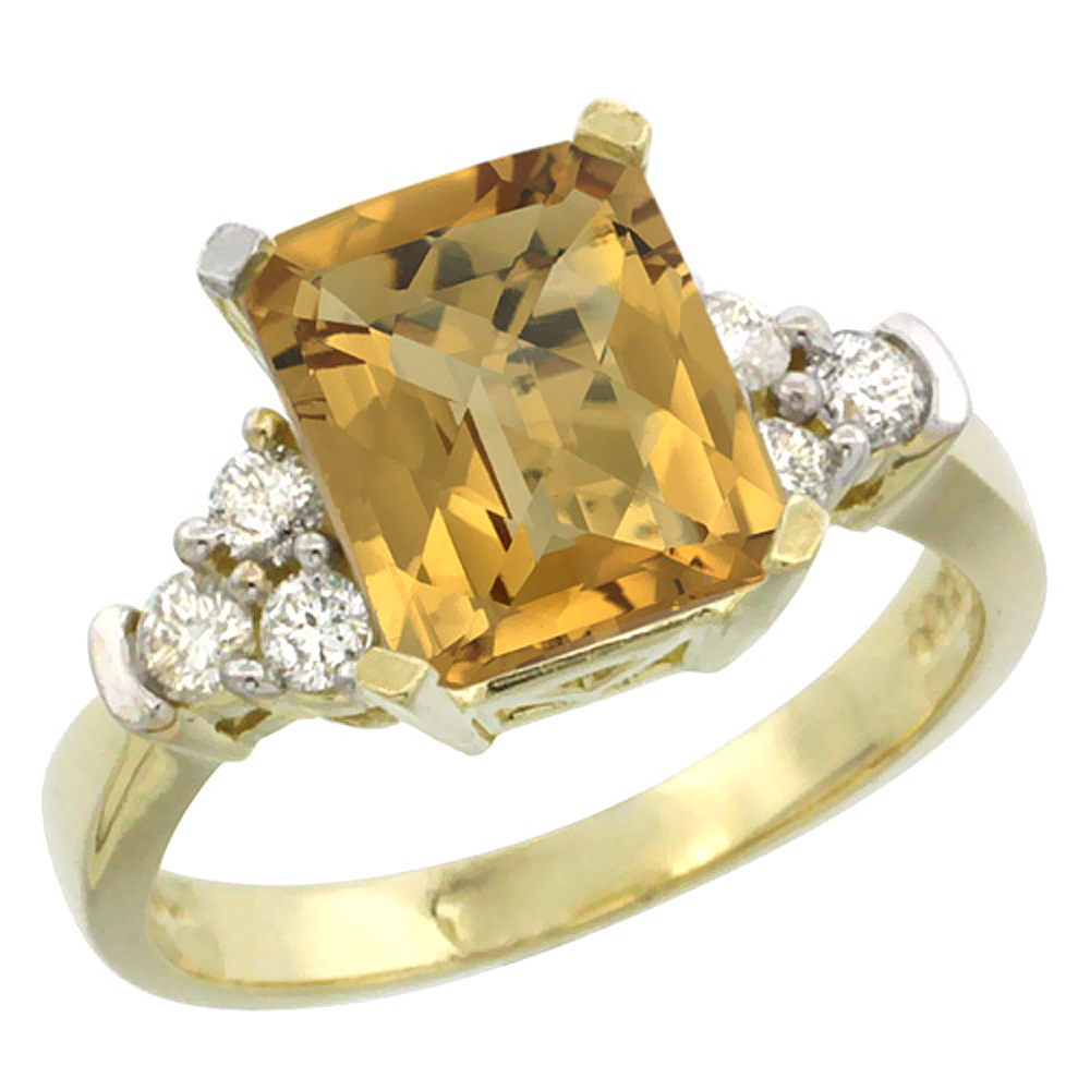 14K Yellow Gold Natural Whisky Quartz Ring Octagon 9x7mm Diamond Accent, sizes 5-10