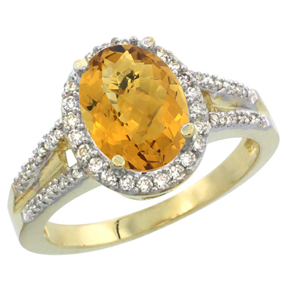 14K Yellow Gold Diamond Natural Whisky Quartz Engagement Ring Oval 10x8mm, sizes 5-10