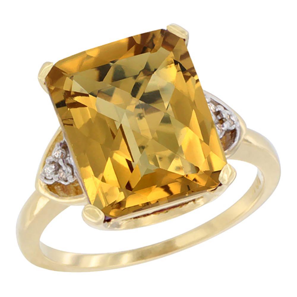 14K Yellow Gold Diamond Natural Whisky Quartz Ring Octagon 12x10 mm, sizes 5-10