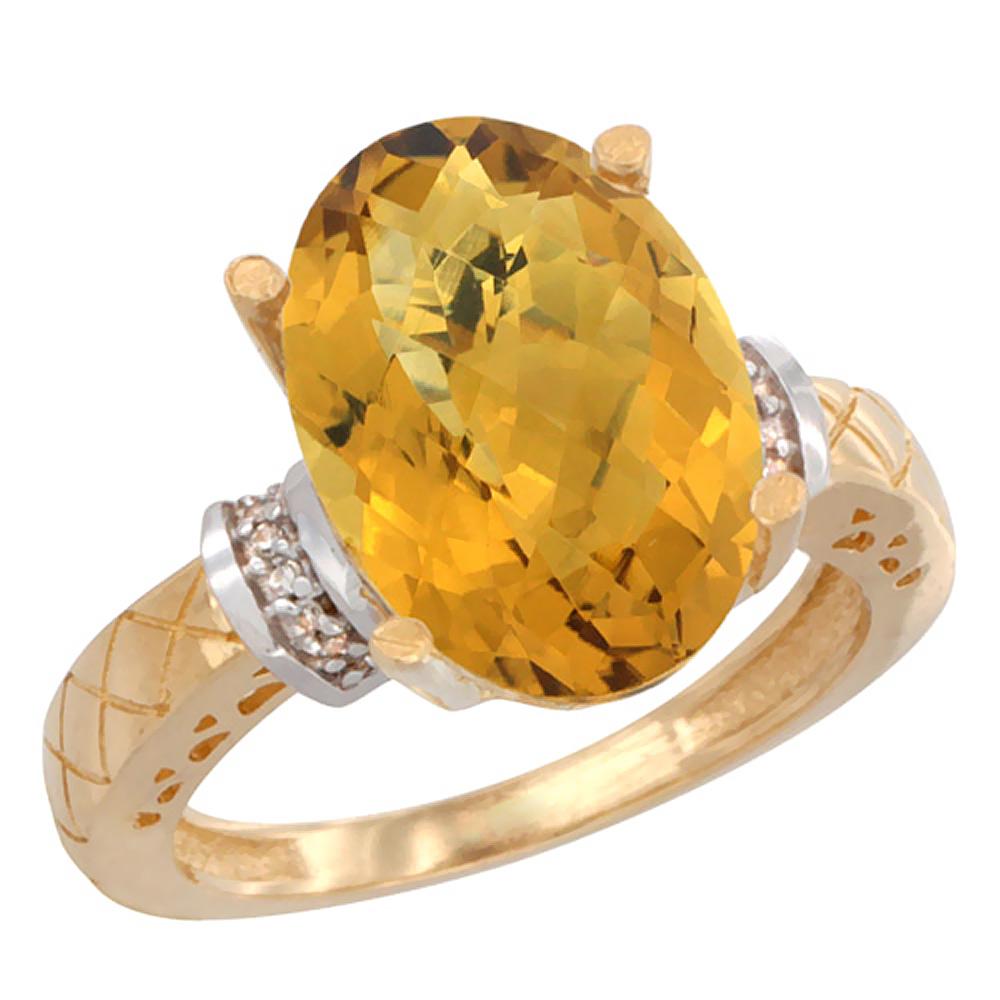 14K Yellow Gold Diamond Natural Whisky Quartz Ring Oval 14x10mm, sizes 5-10