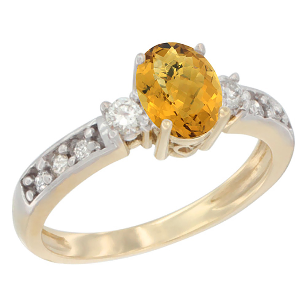 14K Yellow Gold Natural Whisky Quartz Ring Oval 7x5 mm Diamond Accent, sizes 5 - 10