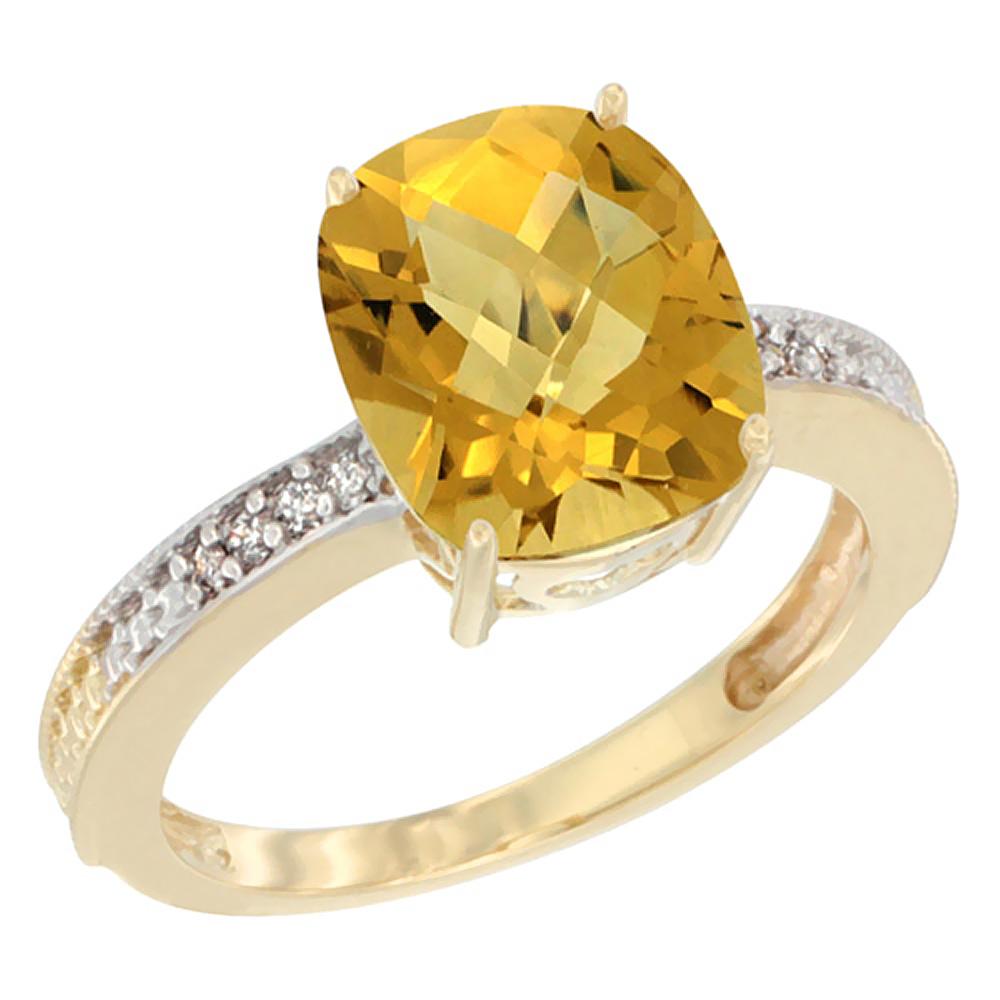 14K Yellow Gold Diamond Cushion 10x8 mm Natural Whisky Quartz Stone Ring, sizes 5 - 10