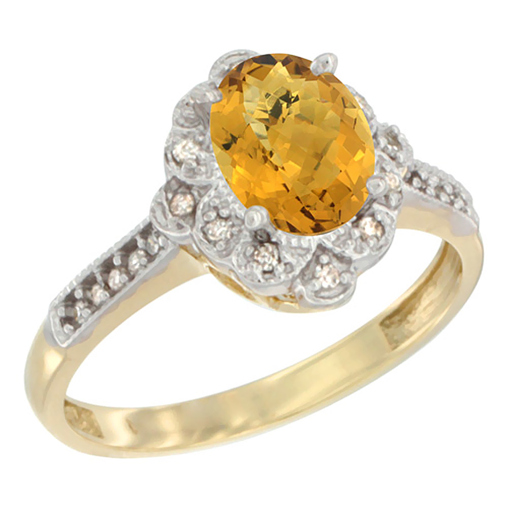 14K Yellow Gold Natural Whisky Quartz Ring Oval 8x6 mm Floral Diamond Halo, sizes 5 - 10