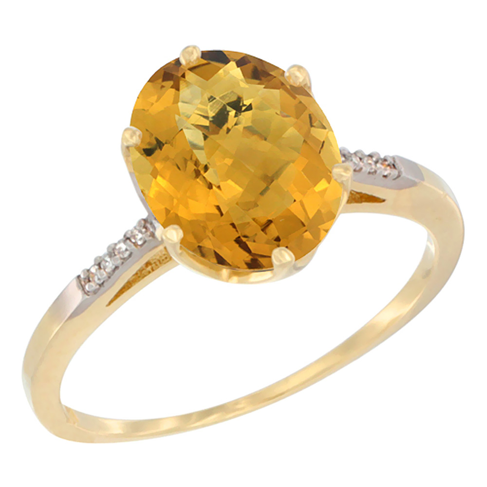 14K Yellow Gold Natural Whisky Quartz Engagement Ring 10x8 mm Oval, sizes 5 - 10