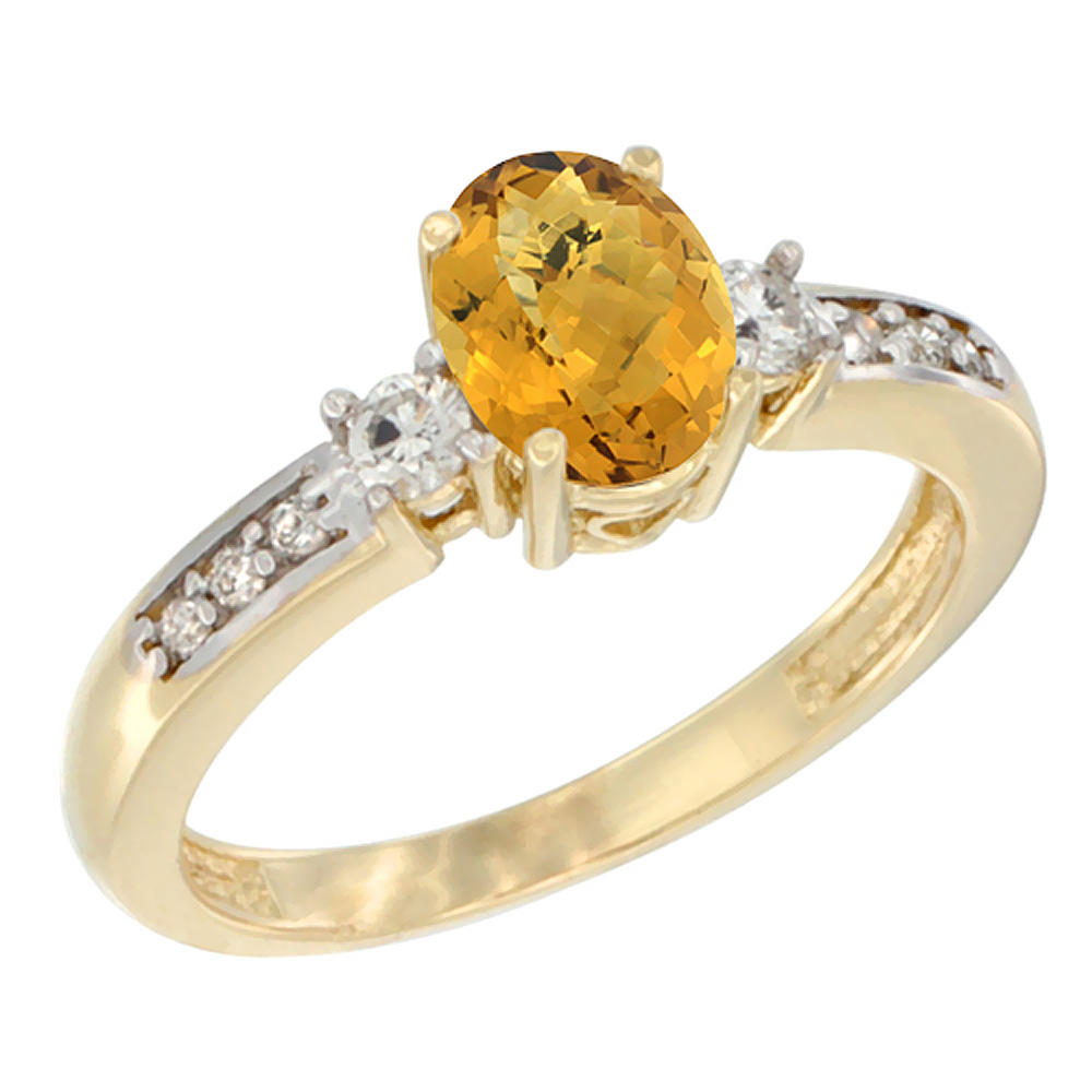 14K Yellow Gold Diamond Natural Whisky Quartz Engagement Ring Oval 7x5 mm, sizes 5 - 10