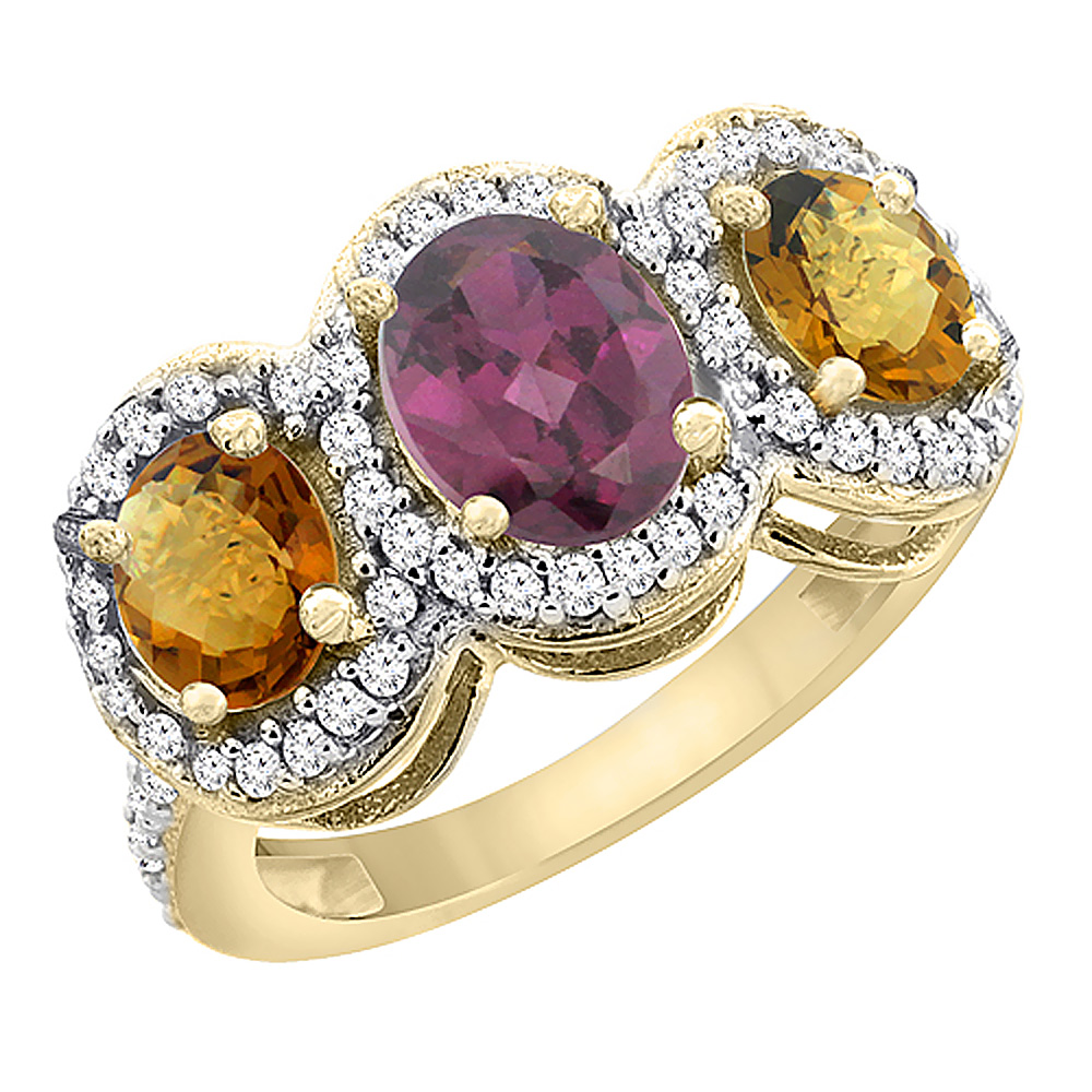14K Yellow Gold Natural Rhodolite & Whisky Quartz 3-Stone Ring Oval Diamond Accent, sizes 5 - 10
