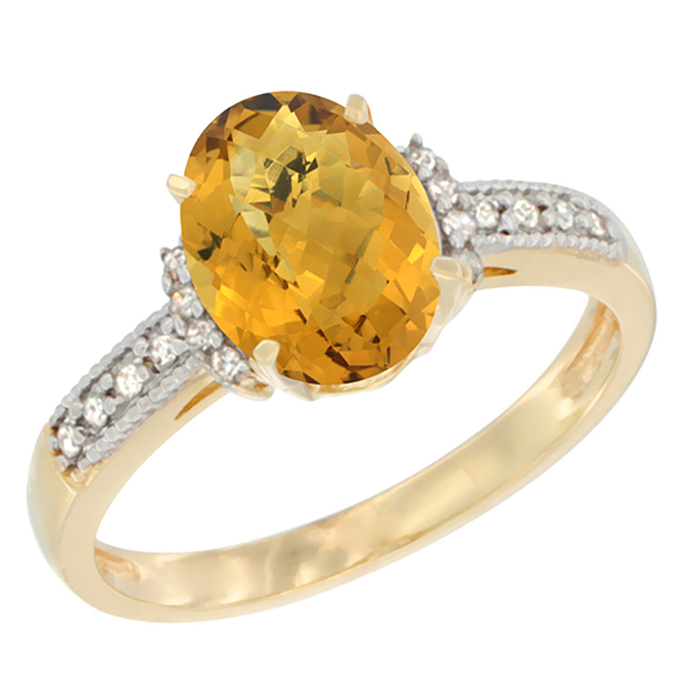 14K Yellow Gold Natural Whisky Quartz Ring Oval 9x7 mm Diamond Accent, sizes 5 - 10