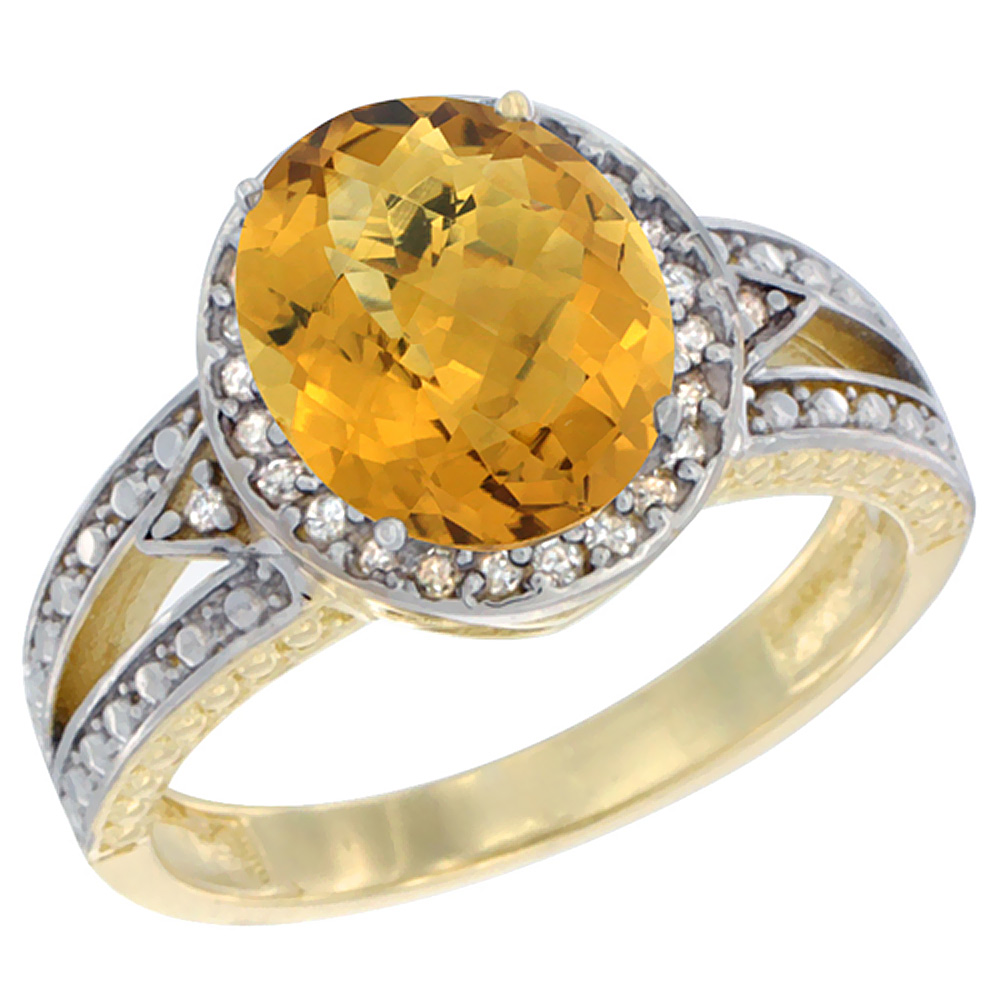 14K Yellow Gold Natural Whisky Quartz Ring Oval 9x7 mm Diamond Halo, sizes 5 - 10