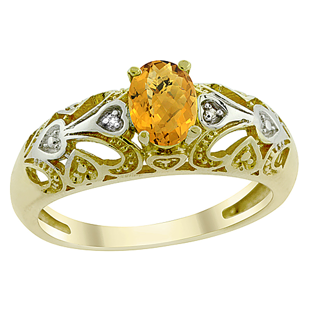 14K Yellow Gold Natural Whisky Quartz Ring Oval 6x4 mm Diamond Accent, sizes 5 - 10