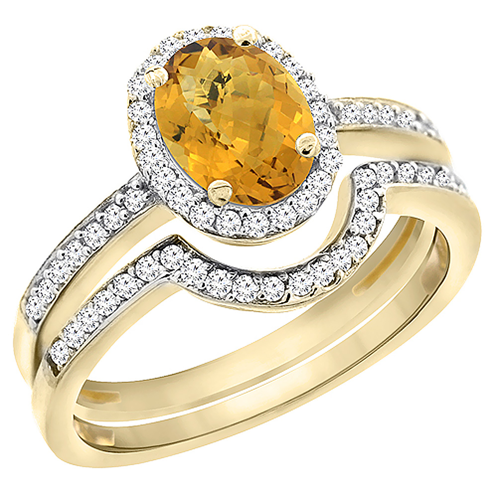14K Yellow Gold Diamond Natural Whisky Quartz 2-Pc. Engagement Ring Set Oval 8x6 mm, sizes 5 - 10