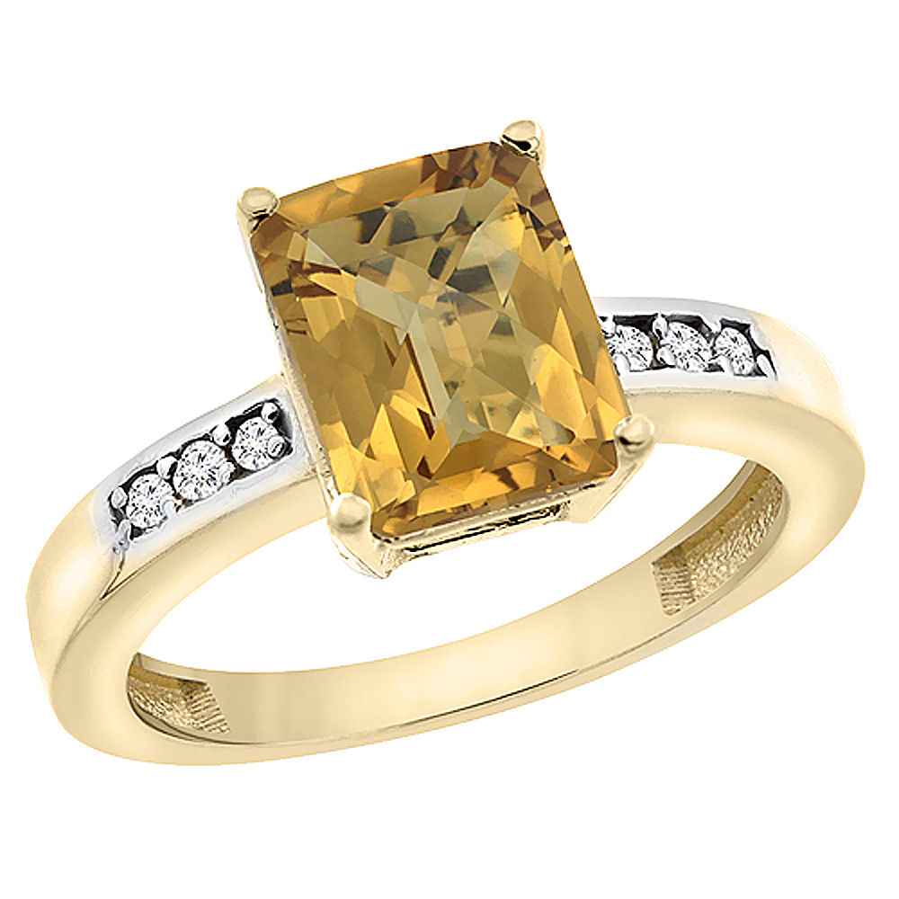 14K Yellow Gold Natural Whisky Quartz Octagon 9x7 mm with Diamond Accents, sizes 5 - 10