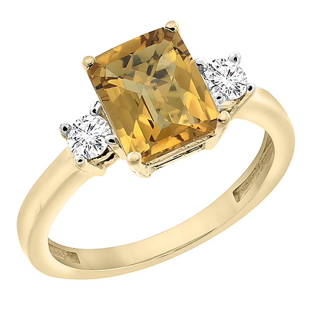 14K Yellow Gold Natural Whisky Quartz Ring Octagon 8x6 mm with Diamond Accents, sizes 5 - 10