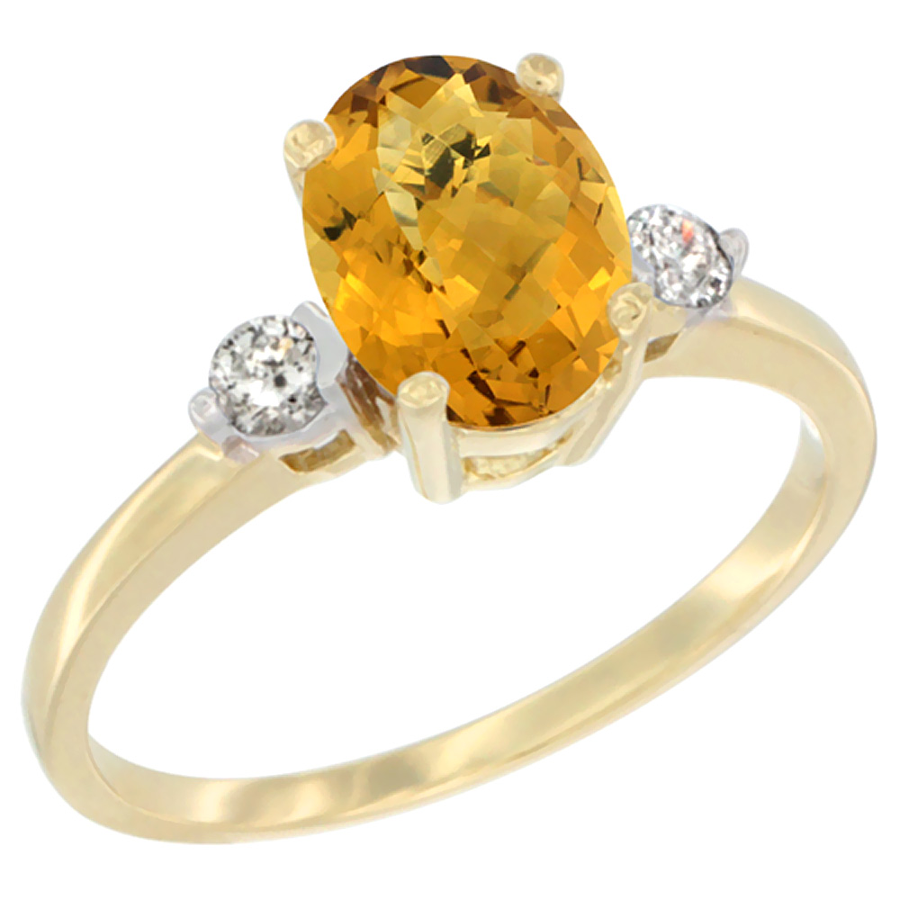 14K Yellow Gold Natural Whisky Quartz Ring Oval 9x7 mm Diamond Accent, sizes 5 to 10