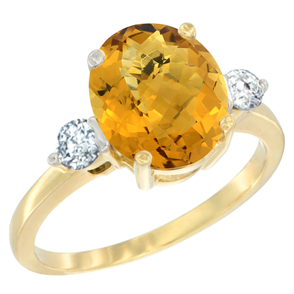 14K Yellow Gold Natural Whisky Quartz Ring Oval 10x8mm Diamond Accent, sizes 5 - 10