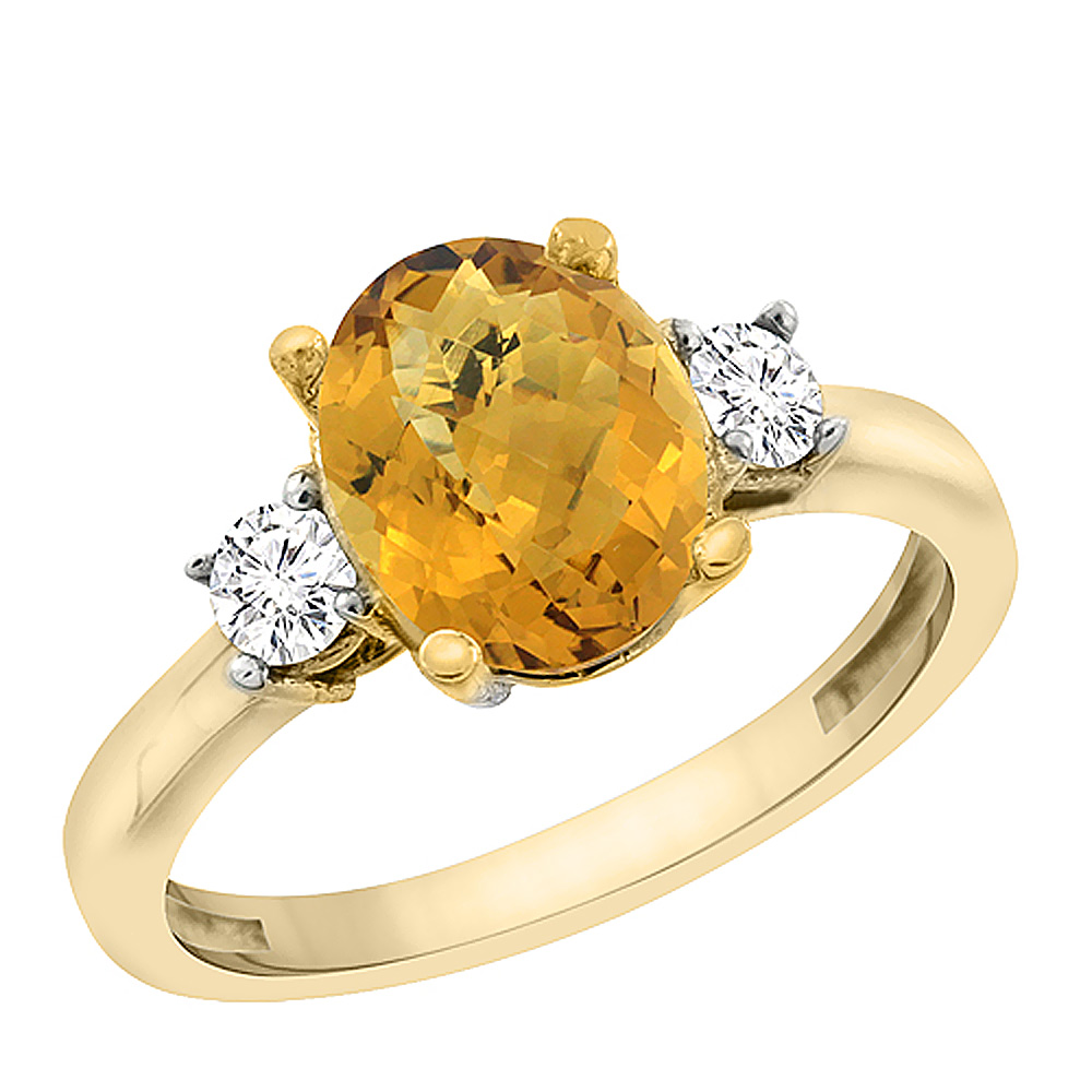 14K Yellow Gold Natural Whisky Quartz Engagement Ring Oval 10x8 mm Diamond Sides, sizes 5 - 10