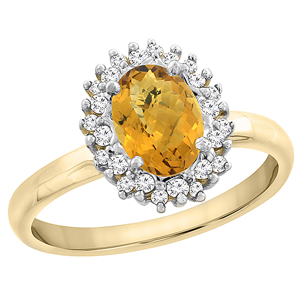 14K Yellow Gold Diamond Natural Whisky Quartz Engagement Ring Oval 7x5mm, sizes 5 - 10