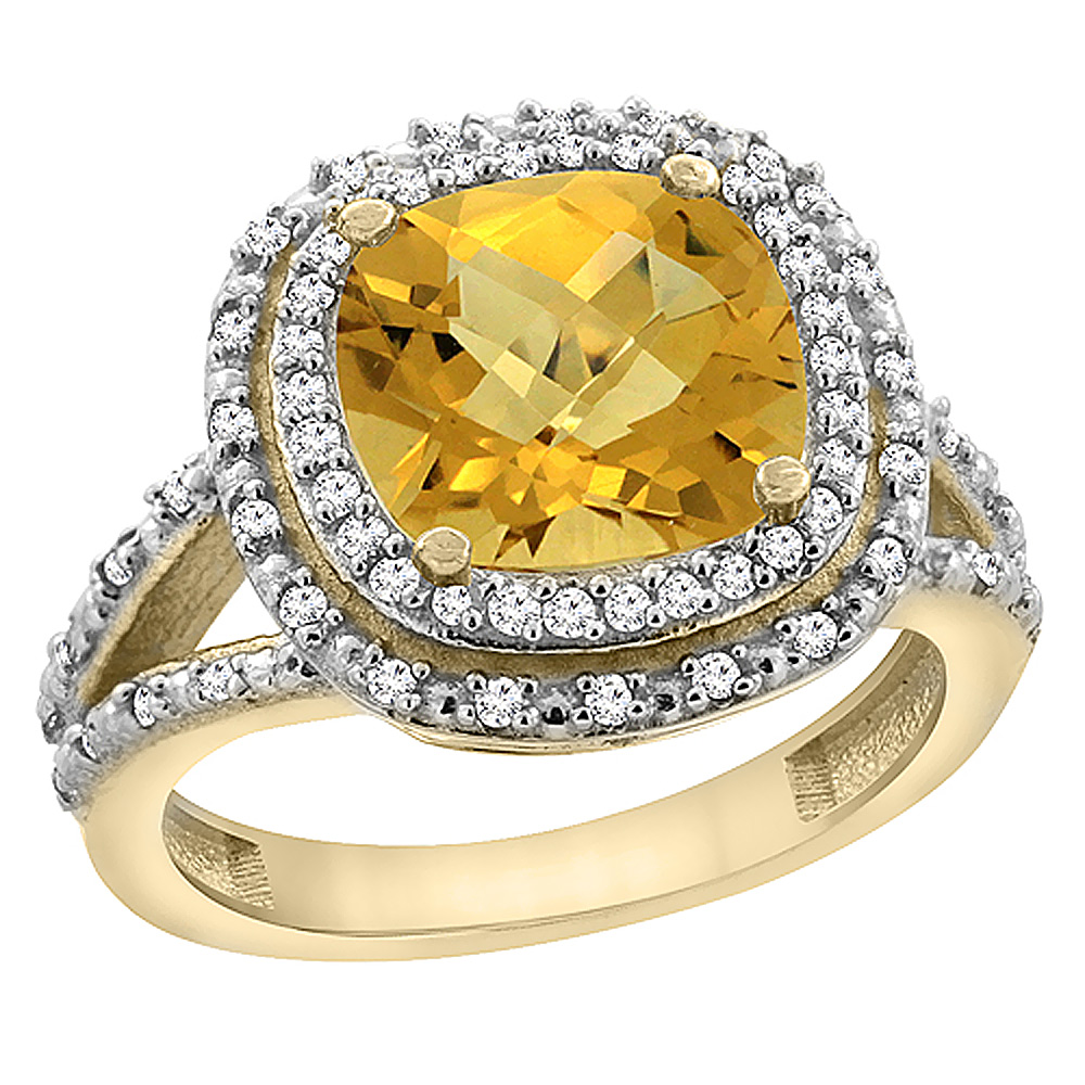 14K Yellow Gold Natural Whisky Quartz Ring Cushion 8x8 mm with Diamond Accents, sizes 5 - 10
