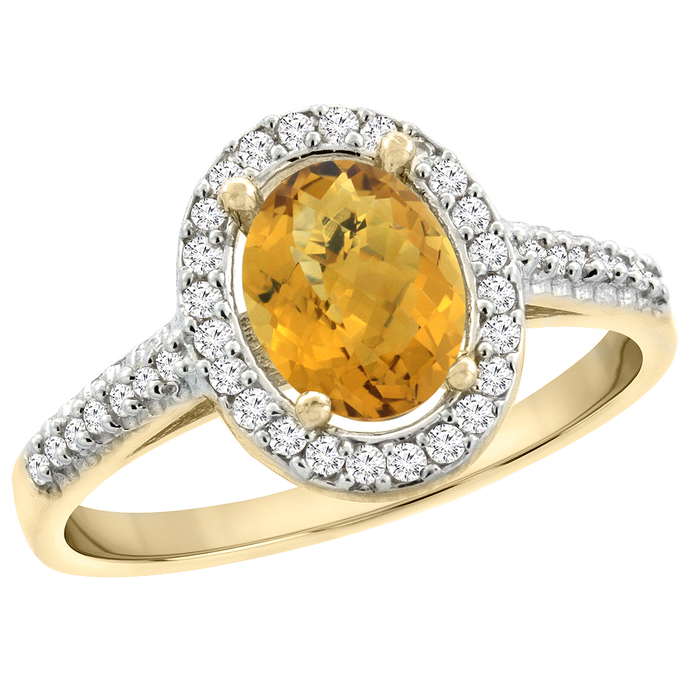 14K Yellow Gold Natural Whisky Quartz Engagement Ring Oval 7x5 mm Diamond Halo, sizes 5 - 10