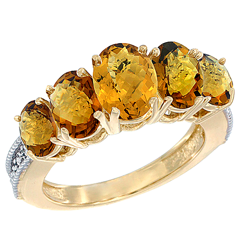 14K Yellow Gold Diamond Natural Whisky Quartz Ring 5-stone Oval 8x6 Ctr,7x5,6x4 sides, sizes 5 - 10