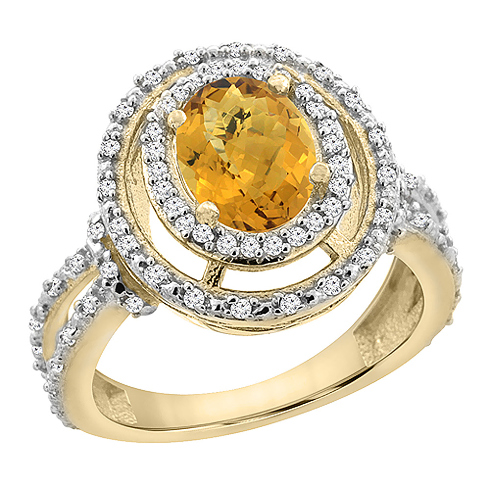 14K Yellow Gold Natural Whisky Quartz Ring Oval 8x6 mm Double Halo Diamond, sizes 5 - 10