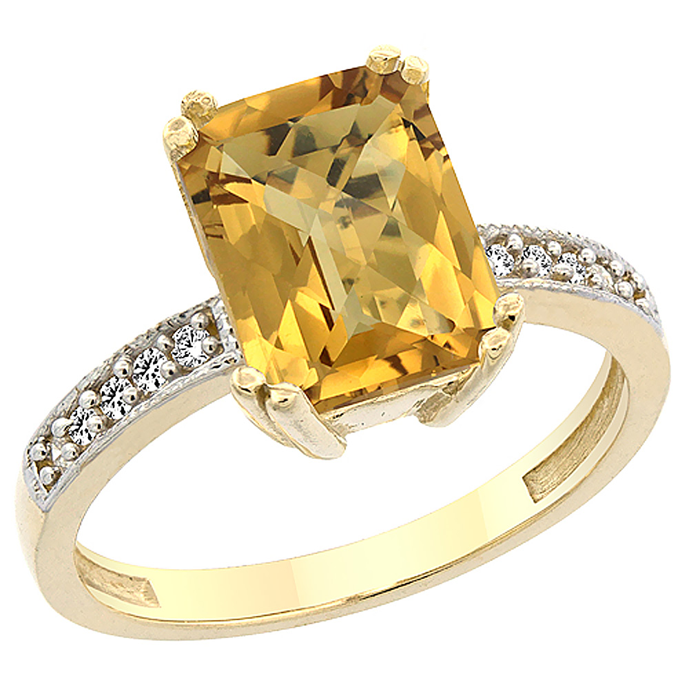 14K Yellow Gold Natural Whisky Quartz Ring Octagon 10x8mm Diamond Accent, sizes 5 to 10