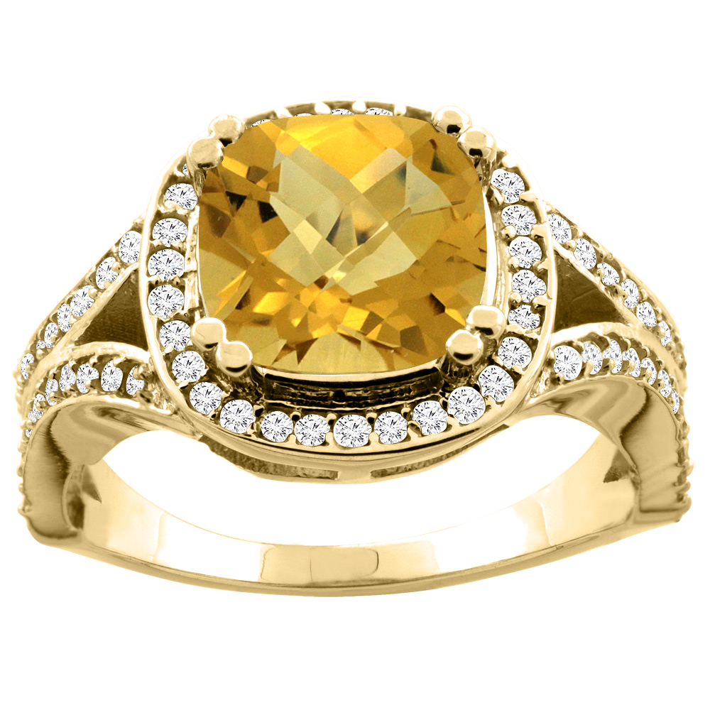 10K Yellow Gold Natural Whisky Quartz Split Ring Cushion 8x8mm Diamond Accent, sizes 5 - 10
