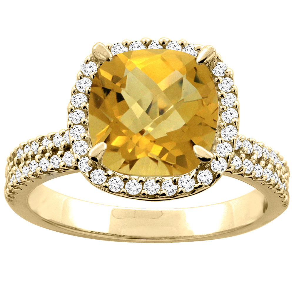 14K Yellow Gold Natural Whisky Quartz Halo Ring Cushion 9x9mm Diamond Accent, sizes 5 - 10
