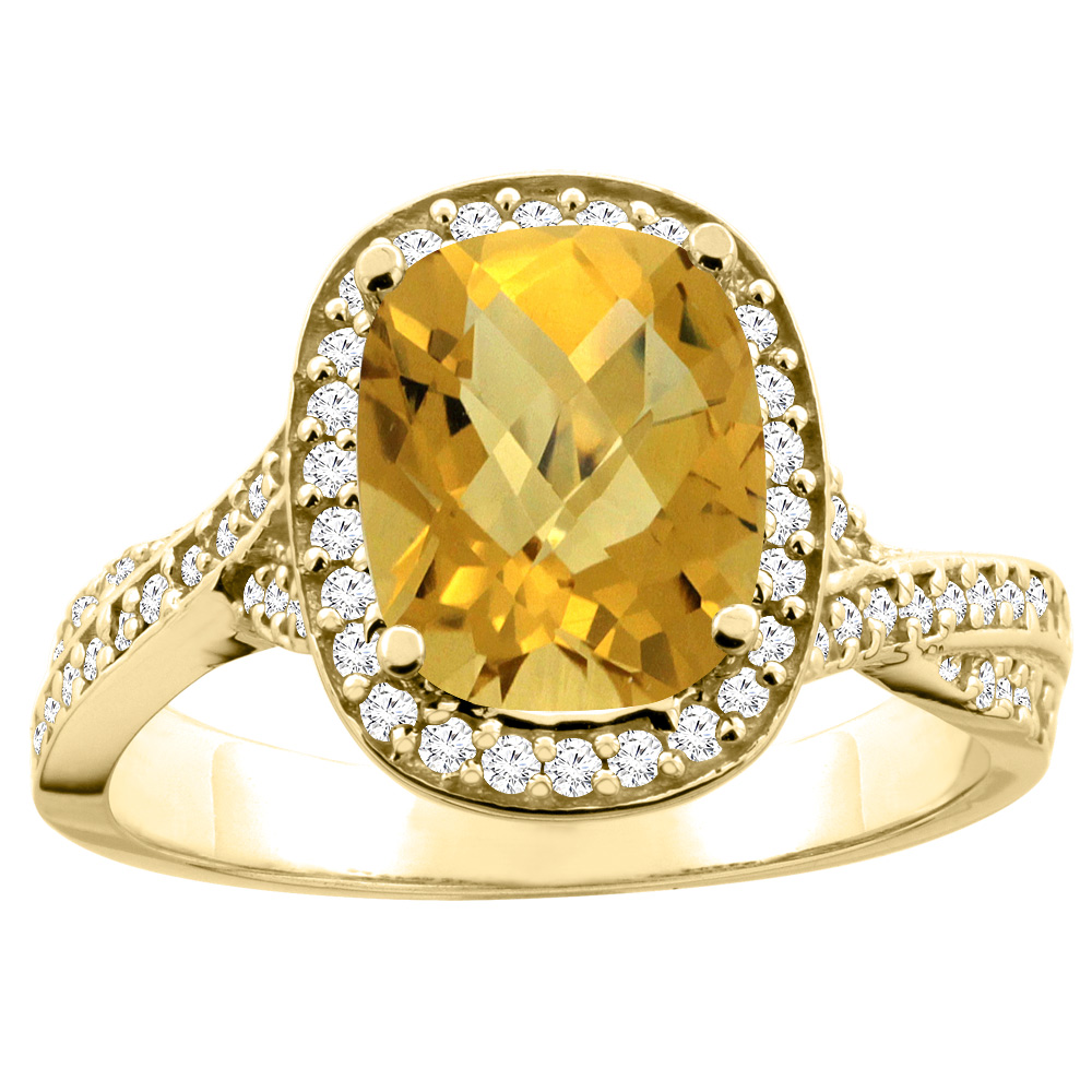 14K Yellow Gold Natural Whisky Quartz Halo Ring Cushion 9x7mm Diamond Accent 1/2 inch wide, sizes 5 - 10